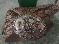 Ремень из Кожи ПИТОНА с серебрянной пряжкой