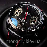 Классические стильные мужские наручные черные часыTAG Heuer Grand Carrera (Таг хауэр гранд каррера) кварцевые