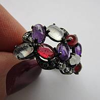 Кольцо с аметистом, гранатом, лунным камнем. Серебро, черный родий
