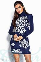 Вязанное платье-новогодний принт M L XL