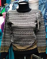 Теплый женский свитер клетка х-328