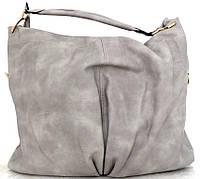 Большая женская сумка - мешок. Эко-кожа. Серая, фото 1