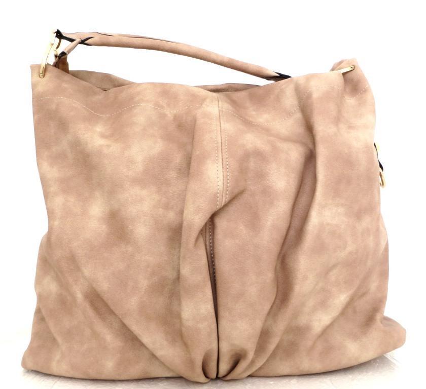 Большая женская сумка - мешок. Эко-кожа. Бежевая