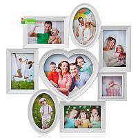 Большая мультирамка «Большое сердце» для 8 фотографий, белого цвета