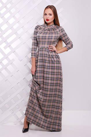 Женское длинное платье Шарлота бежевое, фото 2