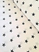 """Детский постельный комплект в кроватку """"Черная звезда на белом""""."""