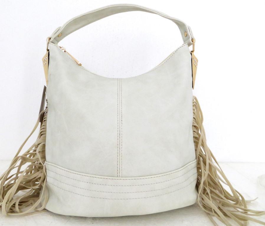 Удобная женская сумка - мешок с бахромой. Эко-кожа. Белая