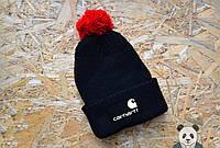 Молодежная черная шапка с бубоном carhartt
