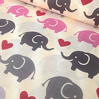 """Детский постельный комплект в кроватку """"Серо-розовые слоны на бежевом""""."""