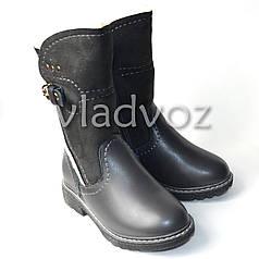 Зимние кожаные сапоги для девочки серые 1 застёжка 27р.