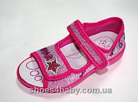Текстильные открытые тапочки для девочки MB Польша (мокасины, кеды, тапки, текстильная обувь)