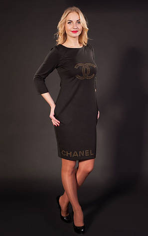 Женское трикотажное платье Шанель черное, р.44-56, фото 2