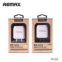 Зарядное Устройство Сетевое (USB/Розетка) Proda Flat RP-U21 2.1A 2*USB White Для Смартфонов Вилка Тип А