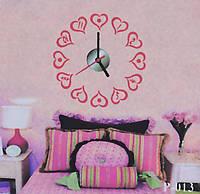 Объемные часы - наклейка Сердечки
