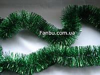 """Новогодняя зеленая мишура""""дождик""""- d=7 см, длина около 2 м"""