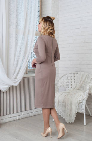 Женское строгое трикотажное платье Жаклин бежевое, р.44-56, фото 2