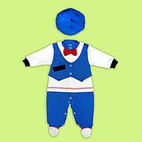 Комбинезон человечек с шапочкой Маленький джентельмен 68/74 см