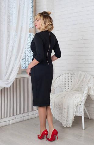 Женское строгое трикотажное платье Жаклин черное, р.44-56, фото 2