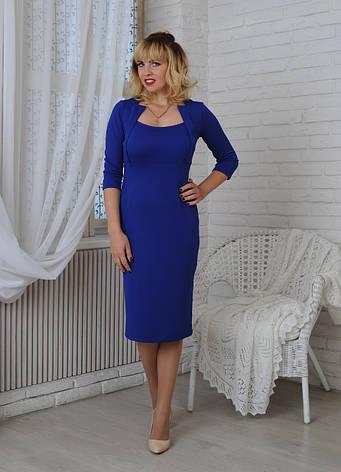 Женское строгое трикотажное платье Жаклин элеткрик, р.44-56, фото 2