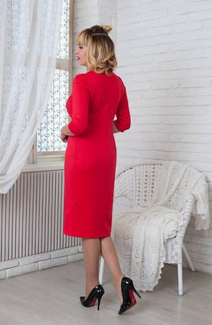 Женское трикотажное платье Софи красное, р.44-56, фото 2