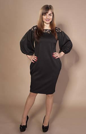 Женское трикотажное платье Веста черное, р.44-56, фото 2