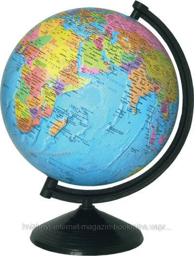 Глобус политический лакированный 26 см. с подсветкой, на пластиковой подставке