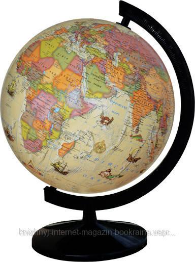 Глобус политический лакированный - под старину 32см. с подсветкой, на пластиковой подставке
