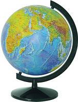 Глобус с двойной картой - физический/политический лакированный 32см. с подсветкой, на пластиковой подставке