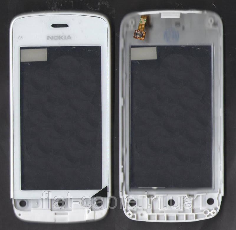 Сенсор Nokia C5-03/C5-06 с рамкой белый