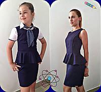 Детский Школьный сарафан с баской на девочку