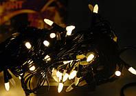 Тепло белая,LED гирлянда нить 6 метров на 100  лед ламп в виде конуса 8мм,черный кабель
