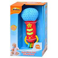 Микрофон детский игрушечный 0722 NL погремушка, муз, свет, на бат-ке