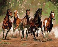 """GX 8288 """"Табун лошадей""""  Картина по номерам на холсте 40х50см без коробки, в пакете"""