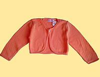 Болеро детское оранжевое вязанное, с длинным рукавом