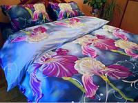 Комплект постельного белья полуторный Ирисы. Поплин