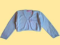 Болеро детское голубое вязанное, с длинным рукавом