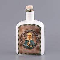 """Бутылка для святой воды (масла) 0,8 л. """"Святая Матрона"""" фарфоровая, религиозная тематика"""
