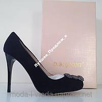 Туфли на шпильке D.BIGIONI black замша, кожа PU, р.35-39, фото 1