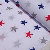 Лоскуток.Ткань с сине-серо-красными звёздами 4 см 18*160 №332