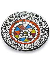 Тарелка с мозаикой цветная
