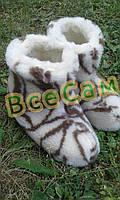 Чуни мужские из шерсти мериносовой овчины с узором «Завиток»