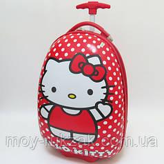 Детский чемодан дорожный на колесах Hello Kitty
