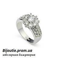 Кольцо КАССИ ювелирная бижутерия покрытие белое золото декор Swarovski elements