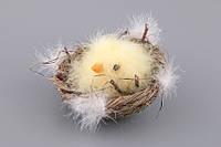 """Фигурка декоративная 12х12х10 см. """"Цыпленок в гнезде"""" желтая"""
