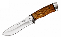 Нож для охоты 2264 BL, кожанный чехол, рукоять из бересты, ножи охотничьи, для охоты