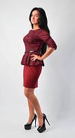 """Модное молодежное платье """"Баска"""" бордового цвета"""