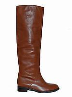 Женские кожаные демисезонные сапоги-труба (коричневые)