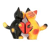 Деревянные Кошки пара с сердечком