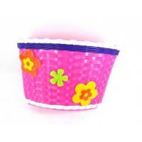 Корзина передняя пластиковый розовый+цветы