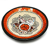 Тарелка с мозаикой деревянная Лотос
